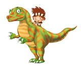cartoon happy scene with caveman man on dinosaur velociraptor on white background - illustration for children - 236989569