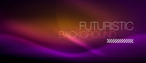 Neon glowing lines, magic energy space light concept, abstract background wallpaper design - 236993980