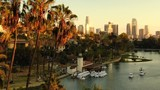 Los Angeles Downtown from Echo Park Aerial Telephoto Shot Sunset - 236999347