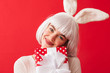 Quadro Cheerful young girl wearing Christmas bunny ears