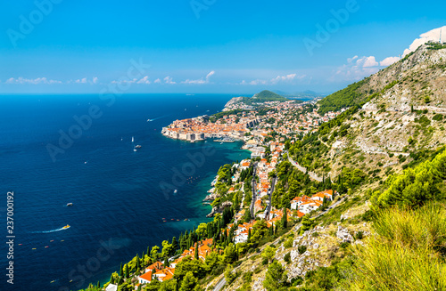 Leinwandbild Motiv Aerial view of Dubrovnik with the Adriatic Sea in Croatia