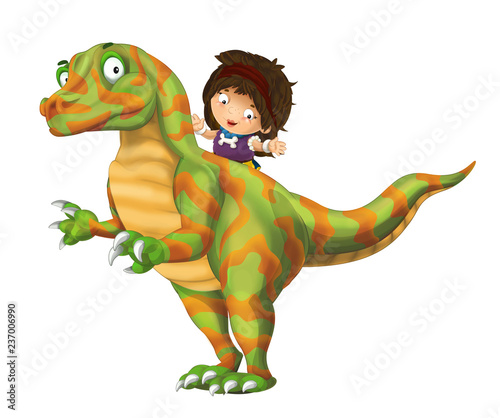 cartoon happy scene with caveman woman on dinosaur velociraptor on white background - illustration for children - 237006990