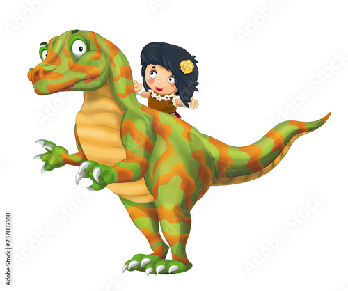 cartoon happy scene with caveman woman on dinosaur velociraptor on white background - illustration for children - 237007160