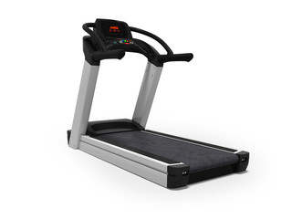 Treadmill for training in the gym 3d render on white background with shadow © Marianna