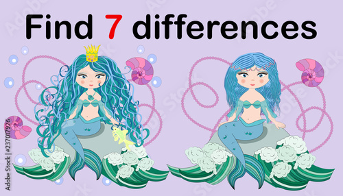 Find the difference the two illustration with sea mermaid. Children funny riddle entertainment.