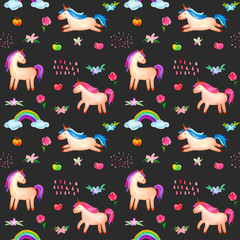 Seamless pattern. Cute watercolor unicorn isolated on dark gray background. Beautiful watercolor unicorn illustration. Magic trendy pink cartoon horse perfect for nursery print and poster design.