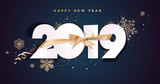 Business Happy New Year 2019 greeting card. Vector illustration concept for background, greeting card, website and mobile website banner, party invitation card, social media banner, marketing material - 237022974