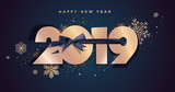 Happy New Year 2019. Vector illustration concept for background, greeting card, website and mobile website banner, party invitation card, social media banner, marketing material. - 237022983