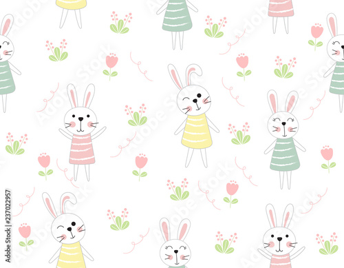 Cute rabbit cartoon seamless pattern animal with flower on white color background.vector,illustration.