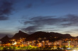 Quadro Beautiful panoramic view of the city of Rio de Janeiro with corcovado at dusk.