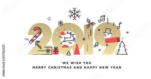 Merry Christmas and Happy New Year 2019 business greeting card. Vector illustration concept for background, party invitation card, website banner, social media banner, marketing material. - 237023325