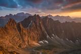 Zachód słońca widoczny z Lodowej Przełęczy ,Wysokie Tatry.