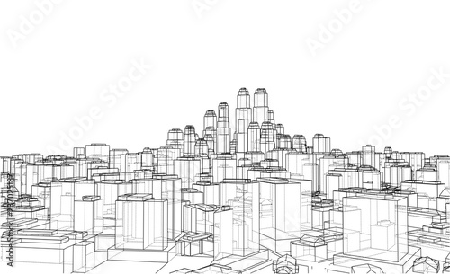 Plakat Wire-frame City, Blueprint Style