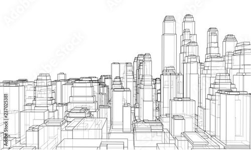 Wire-frame City, Blueprint Style - 237025381