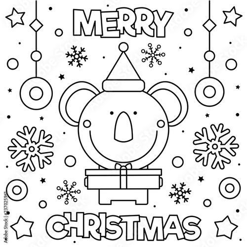 Merry Christmas Coloring Page Black And White Vector Illustration