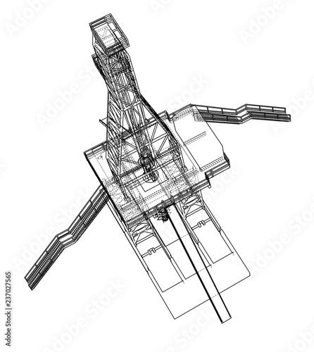 Oil Rig Concept 3d Illustration