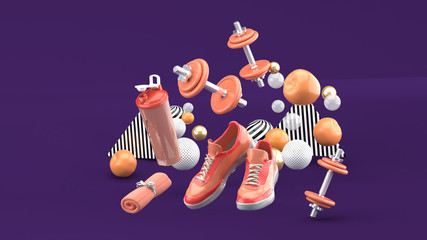 Dumbbell,Running Shoes ,Orange Towel Among the colorful balls on the purple background.-3d render..