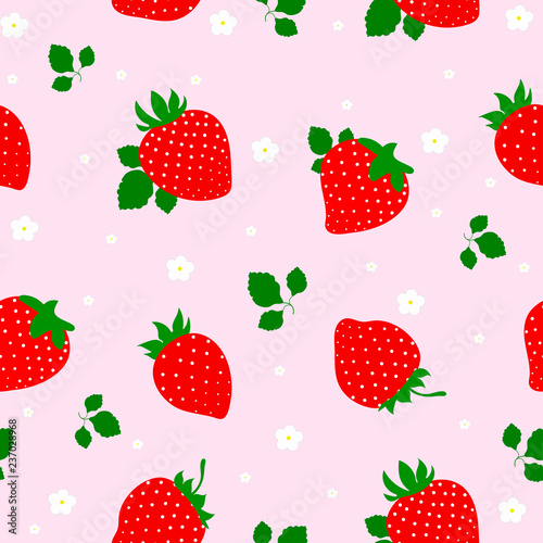 Seamless vector strawberry fruit pattern. illustration. - 237028968