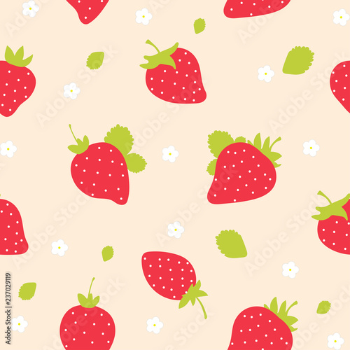 Seamless vector strawberry fruit pattern. illustration. - 237029119
