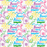 Baby doodle illustration of House Sweet Home, vector  - 237030713