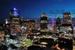 Aerial view of downtown Dallas Texas at night