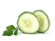 Cucumber slices  isolated on white background cutout