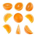 . Orange segments isolated on white background. Food background.