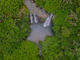 Aerial view of 'Latour' waterfall (Cascade Latour) hidden in the south of Mauritius island