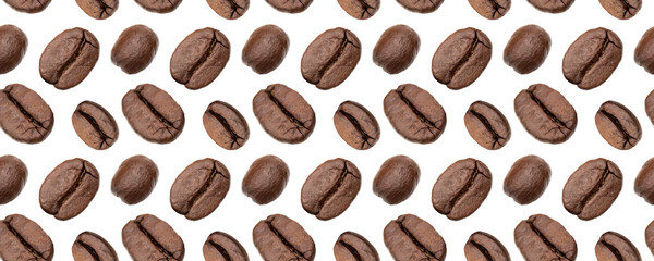 Coffee beans seamless pattern. Isolated on white background,food background . Coffee beans pattern. © Natika