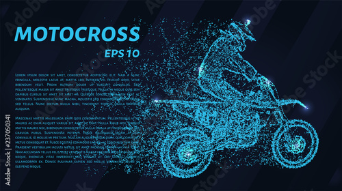 Motocross of blue glowing dots. A motorcycle racer from the particles. Vector illustration.