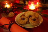 Christmas still-life with candle-light atmosphere and homemade cookies (dark version)