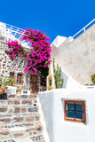 Beautiful entrance of a white House decorated with blooming bourgainvillea in Fira, Santorini, Greece - 237054359