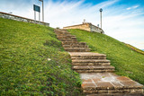 stone steps on the promenade in Mar del Plata