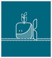 Baleine bleue pour décor, poster, cadre, enfants © annecelinemoisan