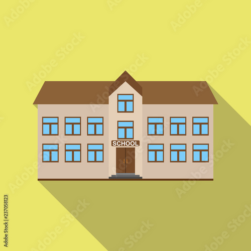 Color icon of a two-story building with an inscription school, long shadow - 237058123