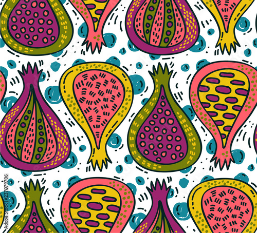 Fig fruit artistic colorful trendy seamless vector pattern - 237079706