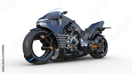Bike with chrome engine, black futuristic motorcycle isolated on white background, 3D rendering