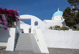 Traditional Orthodox blue dome church in Greece on a sunny summer day, with the typical blue and white colours. Santorini, Cyclades Islands, Greece, Europe - 237082139
