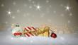 Leinwandbild Motiv Weihnachten Geschenk Päckchen - Weihnachtlicher Hintergrund