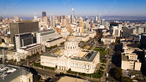Aerial View City Hall Downtown Core Urban Center San Francisco Metro Skyline