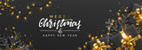 Christmas banner. Background Xmas design of sparkling lights garland, with realistic gifts box, black snowflake and glitter gold confetti. Horizontal christmas poster, greeting cards, headers, website - 237085127