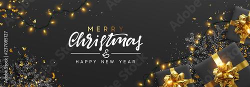 Transparent świąteczny. Tło Boże Narodzenie projekt girlanda musujące światła, z realistycznym prezenty pudełko, czarny płatek śniegu i konfetti złoto świecidełka. Poziome plakatu Bożego Narodzenia, karty okolicznościowe, nagłówki, strony internetowej