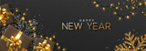 Happy New Year banner. Background Xmas design of sparkling lights garland, with realistic gifts box, black snowflake and glitter gold confetti. Horizontal poster, greeting cards, headers, website - 237085382