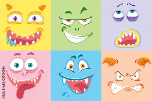 Zestaw kolorowych twarzy potwora