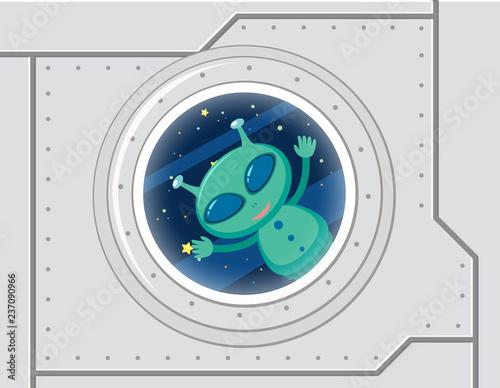 Zielony obcy w przestrzeni