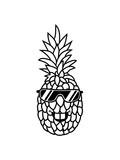 cool sonnenbrille funky style gesicht lustig ananas lecker hunger essen obst gesund ernährung diät comic cartoon design clipart - 237102774