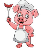 Cartoon happy pig chef holding a sausage on fork - 237105126
