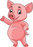 Cartoon pig posing - 237105141