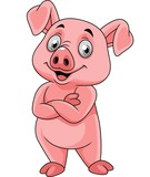 Cartoon happy pig posing - 237105149