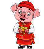Cartoon happy little pig with traditional Chinese costume holding golden ingot - 237105321